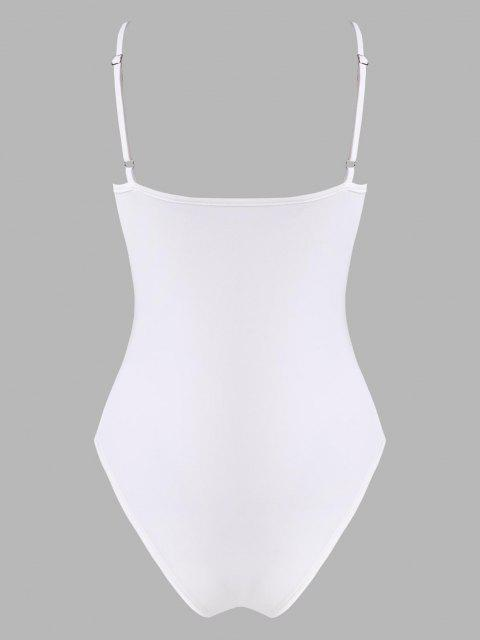 hot Ruched Bust Cupped Cami Bodysuit - WHITE L Mobile