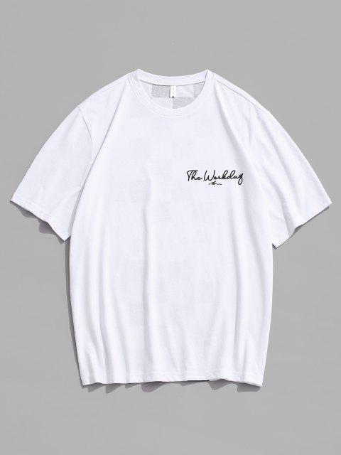 T-shirt de Emagrecimento com Impressão de Letras de Mangas Curtas de Gola Dobradiça para Homens - Branco M Mobile