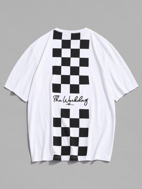 affordable Letter Checkerboard Print Short Sleeve T Shirt - WHITE L Mobile