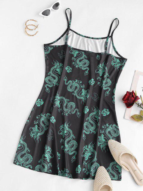 lady ZAFUL Oriental Dragon Front Slit Plus Size Cami Dress - MULTI 3XL Mobile