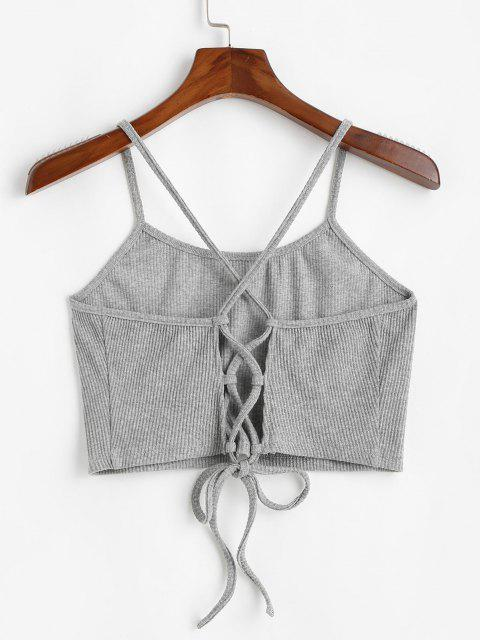 womens ZAFUL Criss Cross Lace Up Ribbed Plus Size Crop Top - LIGHT GRAY L Mobile