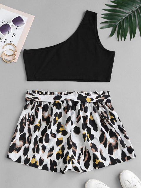 trendy ZAFUL Plus Size One Shoulder Top and Leopard Paperbag Shorts Set - MULTI L Mobile