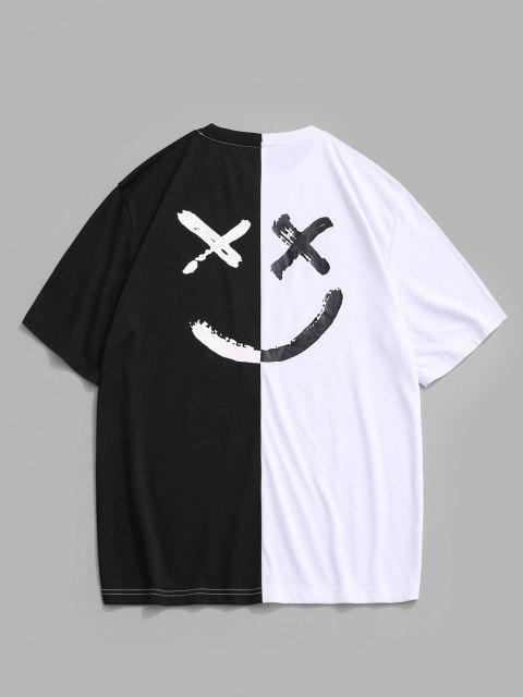 chic Be Happy Two Tone Face T-shirt - WHITE L Mobile