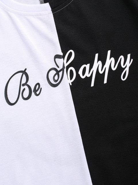 fashion Be Happy Two Tone Face T-shirt - WHITE S Mobile