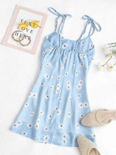 Robe Moulante Florale Fendue à Épaules Nouées - Bleu clair M Mobile
