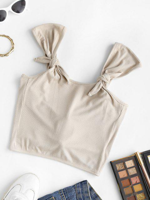 best Ribbed Knotted Crop Tank Top - LIGHT COFFEE ONE SIZE Mobile