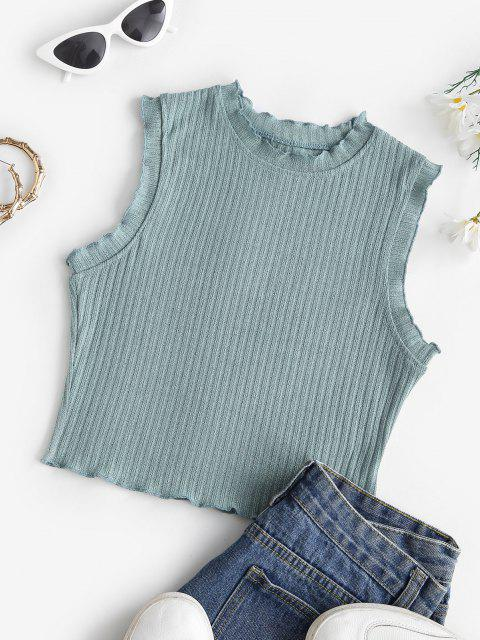 outfits Lettuce Trim Rib-knit Sleeveless Crop Top - GREEN M Mobile