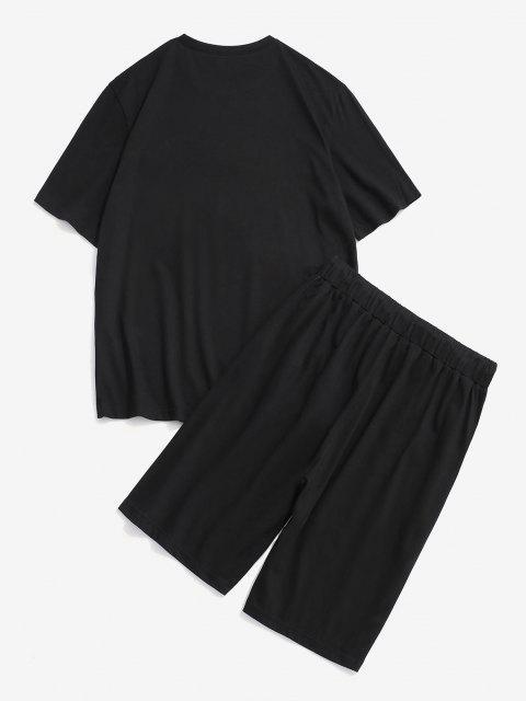 スターレター配色Tシャツとショーツ二点セット - ブラック S Mobile