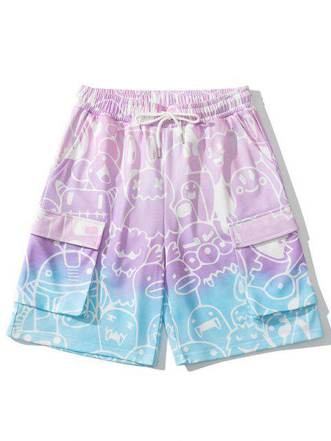 trendy Ombre Bear Drawing Print Sweat Shorts - BLUSH PINK M Mobile