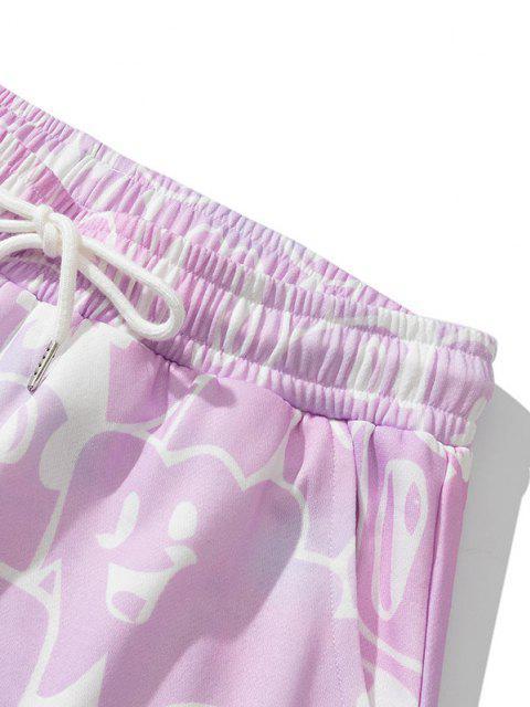 Short de Survêtement Peinture Ombrée Ours Imprimé - Rose Blush 2XL Mobile