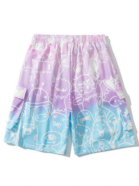 Shorts de Sudor con Estampado de Dibujo Degradado - Rubor Rosa L Mobile