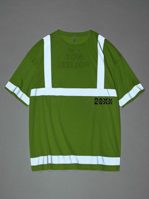 shop Reflective Panel Letter Print Short Sleeve T-shirt - GREEN M Mobile
