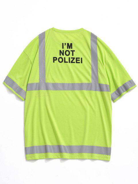 Reflektierende Panel Buchstabedruck Kurzarm T-Shirt - Grün 2XL Mobile