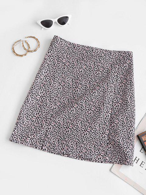 fancy Leopard Animal Print Slit Mini Skirt - LIGHT PINK L Mobile