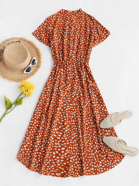 best Drawstring Spotted Print Half Buttoned Midi Dress - RED S Mobile