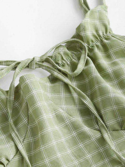 hot Plaid Ties Smocked Back Slit Skirt Set - GREEN S Mobile