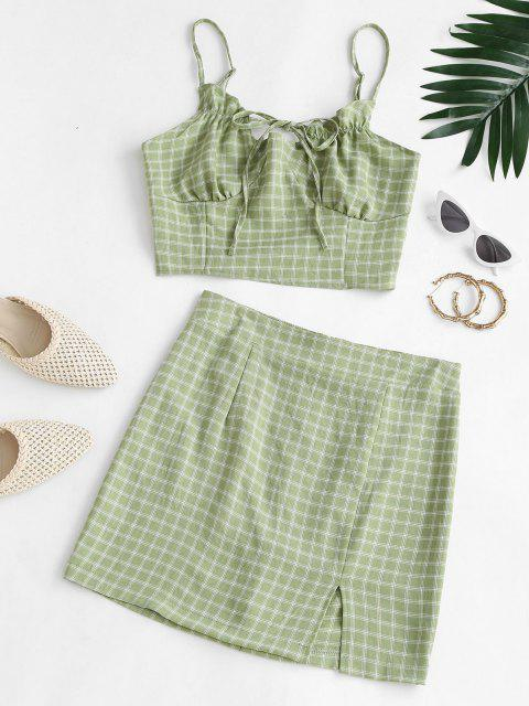 affordable Plaid Ties Smocked Back Slit Skirt Set - GREEN L Mobile