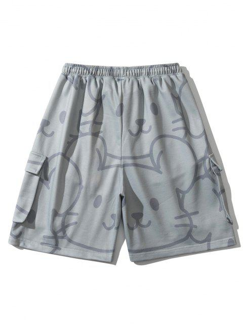 fancy Animal Figure Multi-pocket Shorts - GRAY M Mobile
