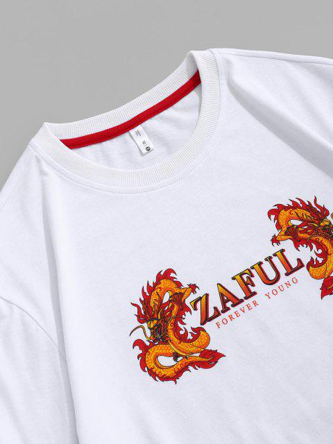 lady ZAFUL Dragon Print Short Sleeve Ringer T-shirt - WHITE L Mobile