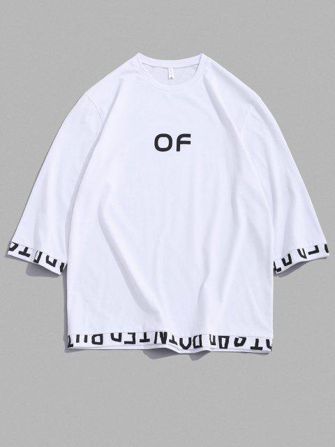 shop OF Letter Print Short Sleeve T-shirt - WHITE M Mobile