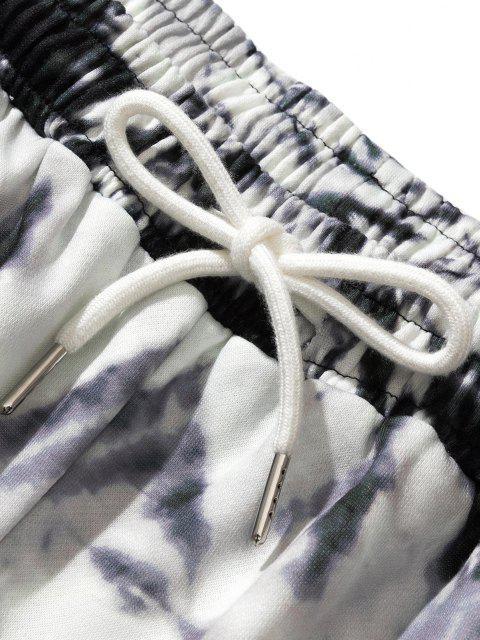 trendy Tie Dye Letter Print Shorts - WHITE XL Mobile