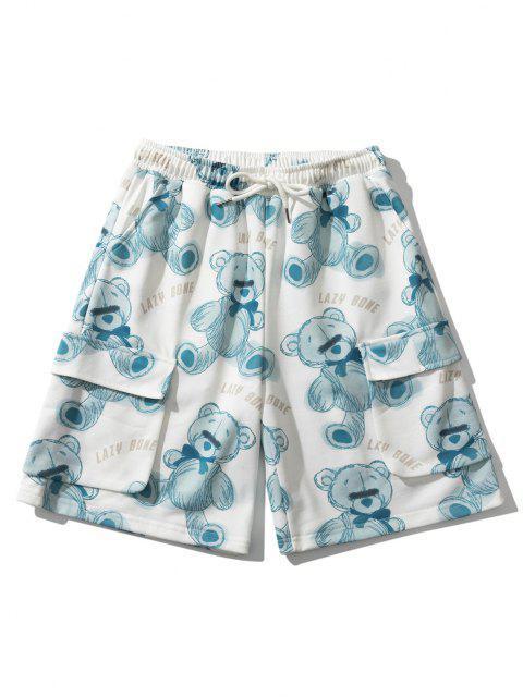best Lazy Bone Bear Toy Flap Pockets Shorts - BLUE KOI L Mobile