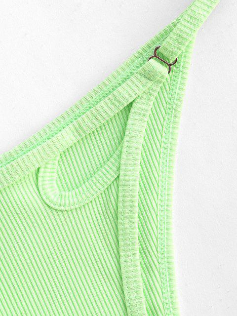 chic ZAFUL Ribbed Cut Out High Cut Neon Bikini Bottom - GREEN S Mobile