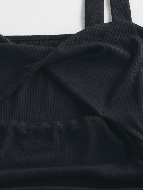 ZAFUL Bodycon Kleid mit Verdrehter Vorderseite und Rüschen - Schwarz S Mobile