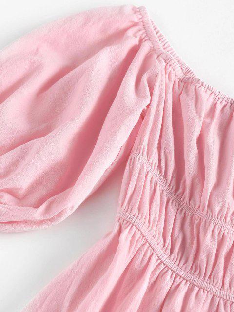 ZAFUL Schulterfreies Kleid mit Puff Ärmel - Hell-Pink M Mobile