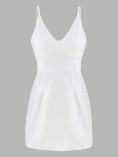 Spaghetti Strap Cup Detail Mini Dress - White M