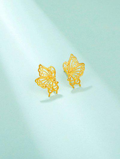 Golden Butterfly Hollow Out Stud Earrings - Golden