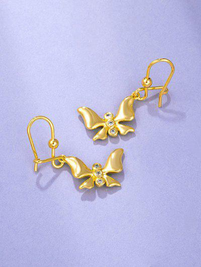Golden Butterfly Pendant Rhinestone Inlaid Hook Earrings - Golden