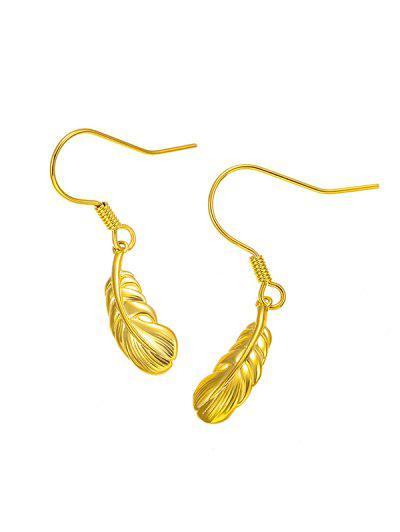 Golden Carved Leaf Pendant Hook Earrings - Golden
