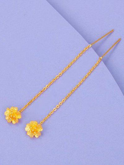 Golden Engraved Flower Pendant Threader Linear Dangle Earrings - Golden