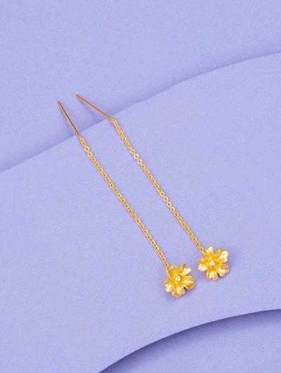 Golden Carved Flower Pendant Threader Linear Drop Earrings - Golden