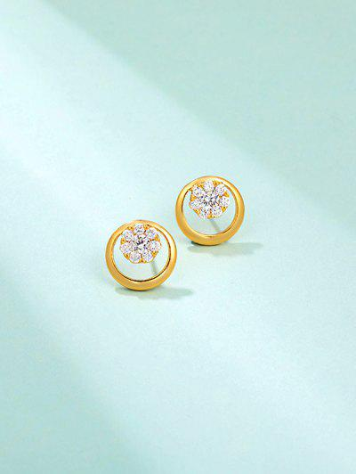 Snowflake Rhinestone Embellished Golden Round Stud Earrings - Golden