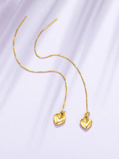 Golden Heart Pendant Long Linear Threader Drop Earrings - Golden