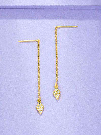 Zircon Inlaid Plated Linear Rhombus Drop Earrings - Golden