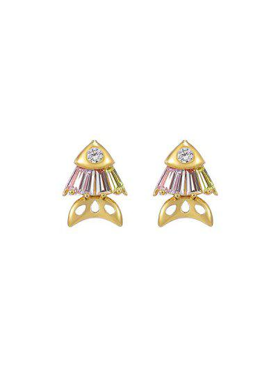 Fish Rhinestone Stud Earrings - Pink