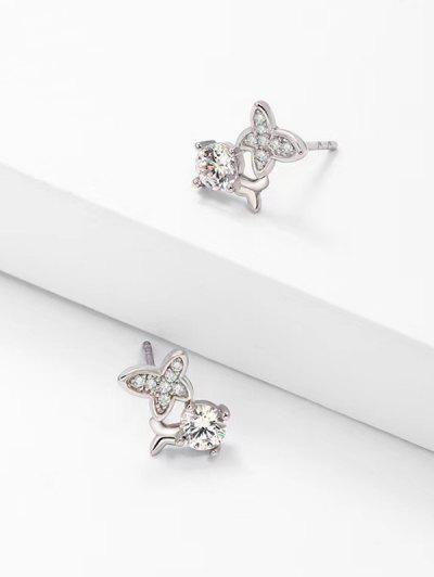 Zircon Butterfly Stud Earrings - Silver