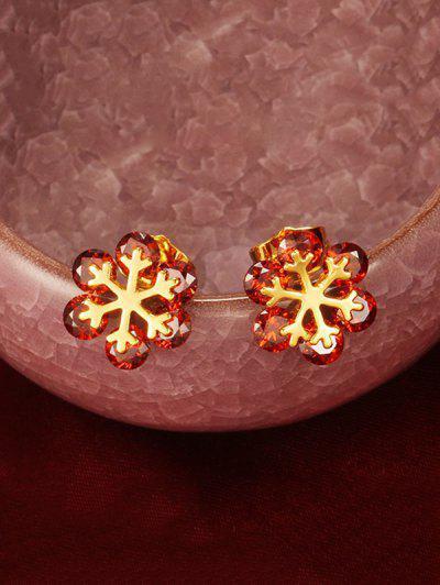 Floral Shape Zircon Stud Earrings - Ruby Red