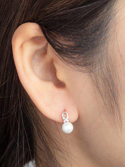 Faux Pearl Criss Cross Rhinestone Stud Earrings - Silver