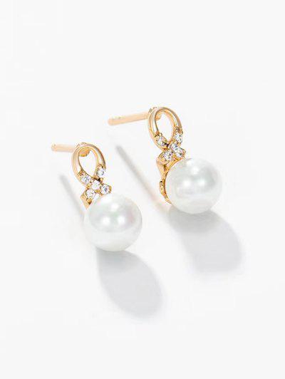Faux Pearl Criss Cross Rhinestone Stud Earrings - Golden