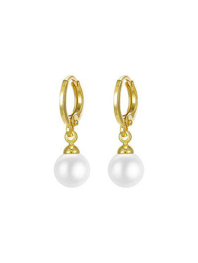 Golden Hoop Faux Pearl Pendant Drop Earrings - Golden