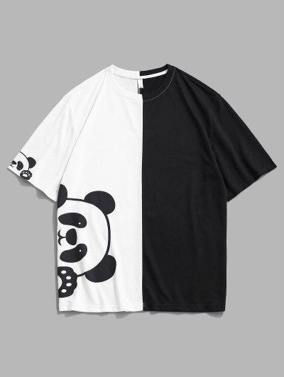 T-shirt Bicolore Panda Imprimé à Manches Courtes - Blanc Xl