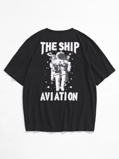 The Ship Aviation Astronaut Print Short Sleeve T-shirt - Black L