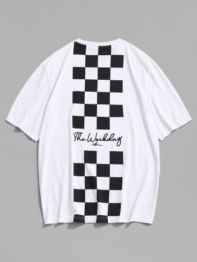 Letter Checkerboard Print Short Sleeve T Shirt - White L