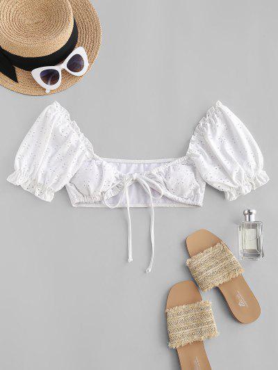ZAFUL Gebundenes Broderie Anglaise Puff Ärmel Bikinis Top - Weiß S
