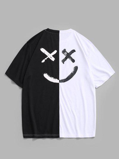 T-shirt à Visage à Lettre à Deux Tons - Blanc L
