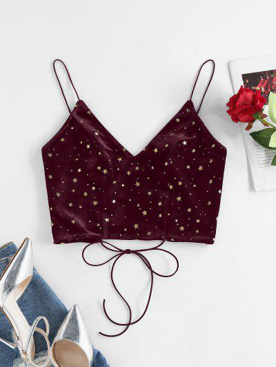 ZAFUL Glitter Star Lace-up Velvet Cami Top - Deep Red M